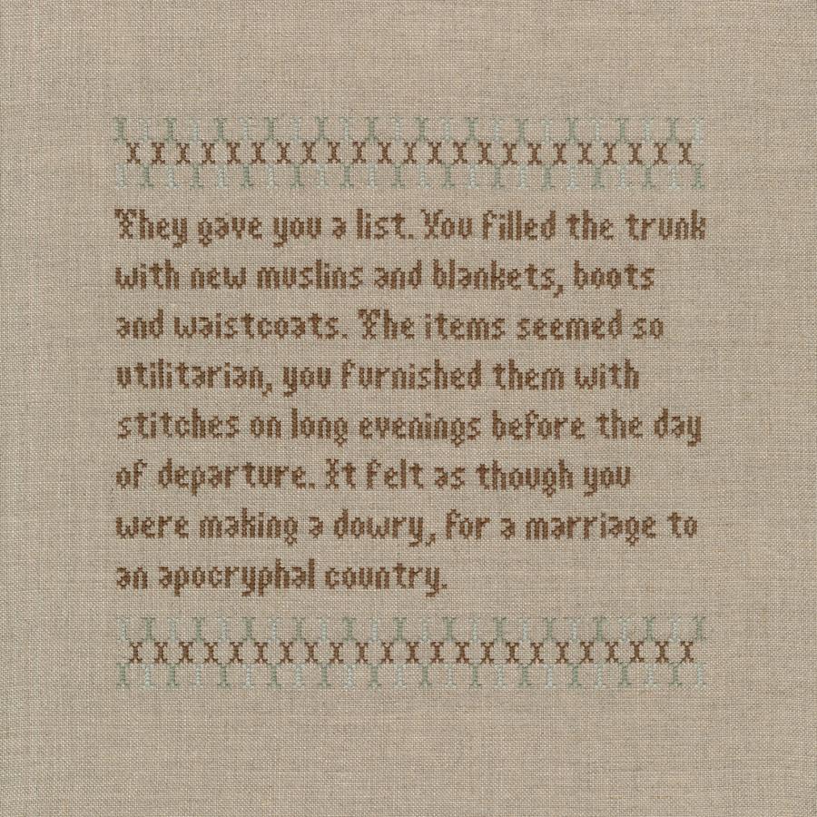 Linen and cotton thread. 37.5 cm sq
